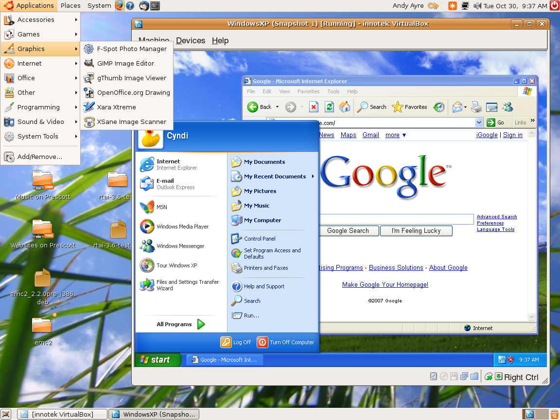 Ubuntu 7.10 Running XP SP2